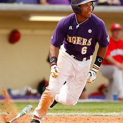 Apr 04, 2010; Baton Rouge, LA, USA; LSU Tigers out fielder Leon Landry (6)run after a hit during a game against the Georgia Bulldogs at Alex Box Stadium. Mandatory Credit: Derick E. Hingle-US PRESSWIRE