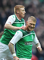 Football - Scottish Premier League -  Hibernian vs Dunfermline<br /> <br /> Garry O'Conner of Hibernian celebrates his penalty goal during the  Hibernian vs Dunfermline Scottish Premier League match at Easter Road, Edinburgh on May 7tht 2012<br /> <br /> Ian MacNicol/Colorsport