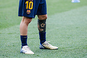 Leo Messi of FC Barcelona tattooed leg during the Spanish championship La Liga football match between FC Barcelona and Huesca on September 2, 2018 at Camp Nou Stadium in Barcelona, Spain - Photo Xavier Bonilla / Spain ProSportsImages / DPPI / ProSportsImages / DPPI