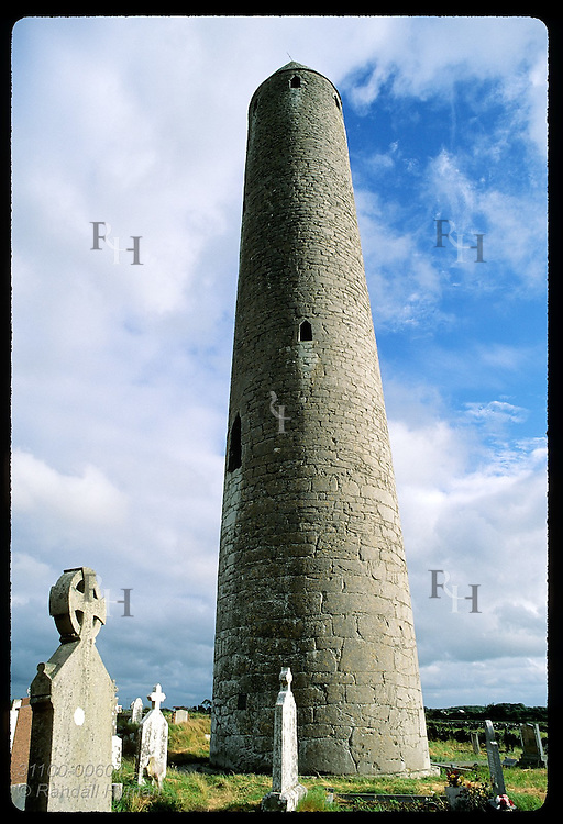 Kilmacduagh round tower (112'h) guards site where St. Colman founded monastery in 500s; Gort. Ireland