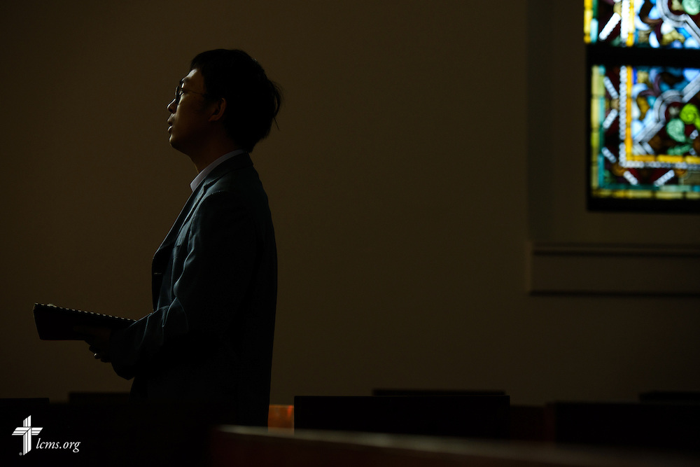 Jacob Xiando Luo worships at the Lutheran Church of The Good Shepherd on Sunday, Jan. 15, 2017, in Mexico City. LCMS Communications/Erik M. Lunsford