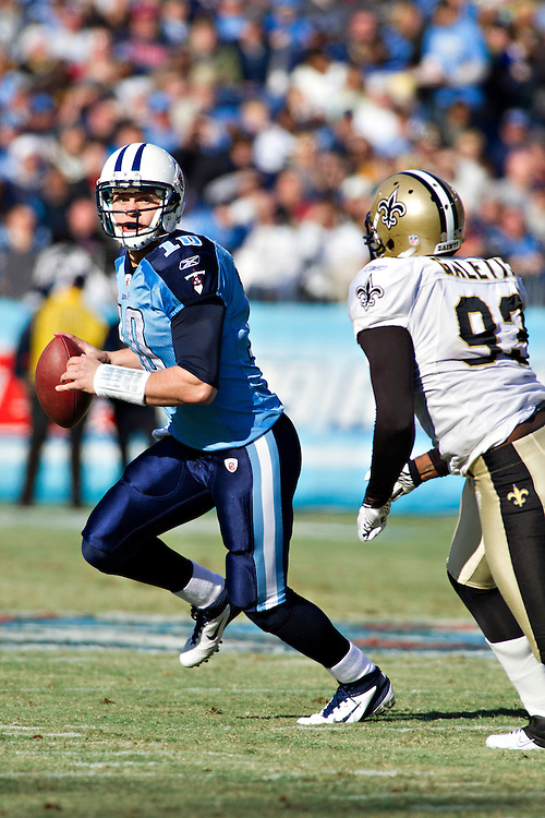 NASHVILLE, TN - DECEMBER 11:   Jake Locker #10 of the Tennessee Titans drops back to pass against the New Orleans Saints at LP Field on December 11, 2011 in Nashville, Tennessee.  The Saints defeated the Titans 22-17.  (Photo by Wesley Hitt/Getty Images) *** Local Caption *** Jake Locker