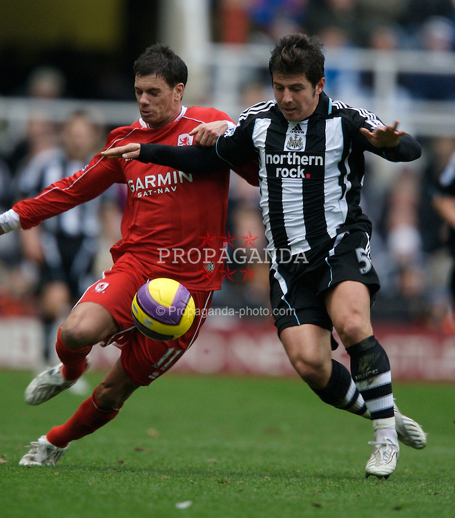 NEWCASTLE, ENGLAND - Sunday, February 3, 2008: Newcastle United's Emre and Middlesbrough's Jeremie Aliadiere during the Premiership match at St James' Park. (Photo by David Rawcliffe/Propaganda)