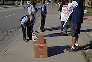 University of Windsor campus police are called to the picket line when a delivery truck tries to cross. CUPE local 1393  is in the 21st day of a strike against the u4niversity.