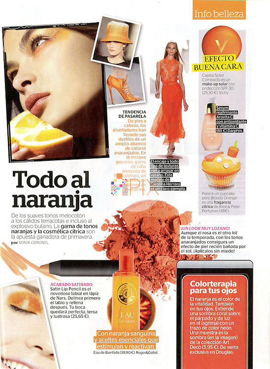Orange beauty feature in the April issue of Mia magazine, Spain.<br /> <br /> Main image from our shoot 'juicy fruit', available for worldwide use with approval:  http://www.apixsyndication.com/gallery/juicy-fruit/G0000DpzB8BvmVwE/C0000DNHB.Vpot8s