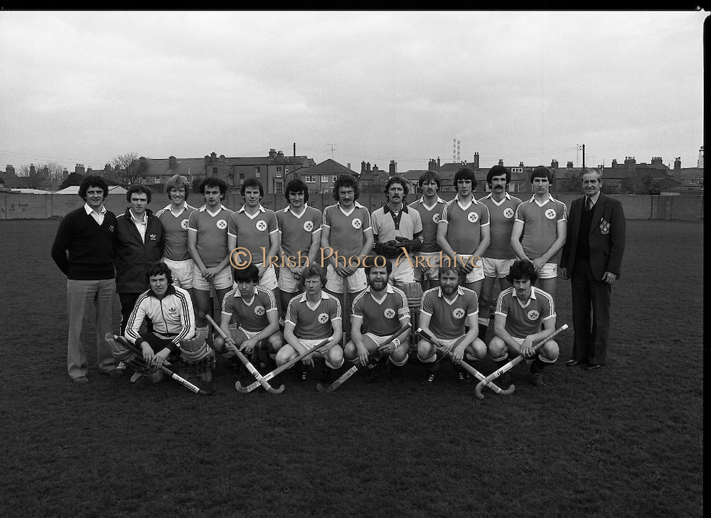 "Ireland Hockey Team.    (N65)..1981..15.03.1981..03.15.1981..15th March 1981..Prior to their forthcoming International against Poland, The Ireland team were kitted out in a full set of Addidas Gear by the ""Great Outdoors""camping shops.""Great Outdoors"" have outlets in Dublin, Cork and Galway...Picture shows the Ireland team about to tour Malasia..Joey O'Meara,team coach; D Balbernie, team manager; T Allen,A Carson, C Allister, M Burns, J Cole (Captain), N Crawford, E Cummins, P Hardy, R Haughton, J Kirkwood, W McConnell, J McKee, S Martin, A O'Driscoll, I O'Keeffe, D Richardson and also pictured on the far right is Mr. F.A. Glasby, President of the Irish Hockey Union. .."