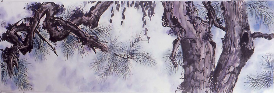 """sumi-ink and watercolor on mulberry paper, 18 x 54"""", for Michael Scollard DDS. Based on a 17th century painting by a female Chinese artist"""