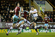 Derby County forward Chris Martin  shot blocked by Burnley defender Michael Keane  during the Sky Bet Championship match between Burnley and Derby County at Turf Moor, Burnley, England on 25 January 2016. Photo by Simon Davies.