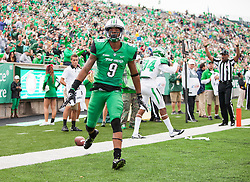Oct 24, 2015; Huntington, WV, USA; Marshall Thundering Herd wide receiver Justin Hunt celebrates after catching a touchdown pass against the North Texas Mean Green during the first quarter at Joan C. Edwards Stadium. Mandatory Credit: Ben Queen-USA TODAY Sports