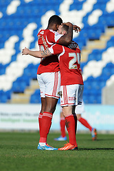 Bristol City's Martin Paterson celebrates his goal with Bristol City's Jay Emmanuel-Thomas - Photo mandatory by-line: Dougie Allward/JMP - Mobile: 07966 386802 22/03/2014 - SPORT - FOOTBALL - Colchester - Colchester Community Stadium - Colchester United v Bristol City - Sky Bet League One