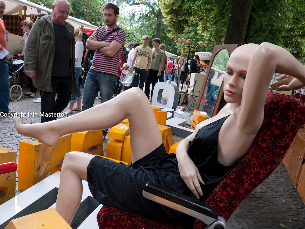Mannequin on display at secondhand furniture stall at Boxhagener Platz weekend market in Berlin