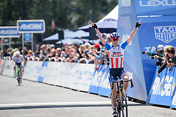Megan Guarnier wins the Amgen Breakaway from Heart Disease Women's Race empowered with SRAM (Tour of California) - Stage 1. A 117km road race around Lake Tahoe, USA on 11th May 2017.