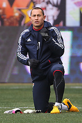Mar 16, 2013; Harrison, NJ, USA; New York Red Bulls goalkeeper Luis Robles (31) during the pre game warmups for their game against DC United at Red Bull Arena.