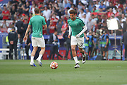 Dele Ali warms up prior the Champions League Final match between Tottenham Hotspur and Liverpool at Tottenham Hotspur Stadium, London, United Kingdom on 1 June 2019.