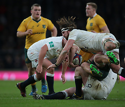 December 4, 2016 - London, England, United Kingdom - Australia's Michael Hooper gets tackled by England's Tom Wood during Old Mutual Wealth Series match between England against Australia at Twickenham stadium , London, Britain - 03 December 2016  (Credit Image: © Kieran Galvin/NurPhoto via ZUMA Press)