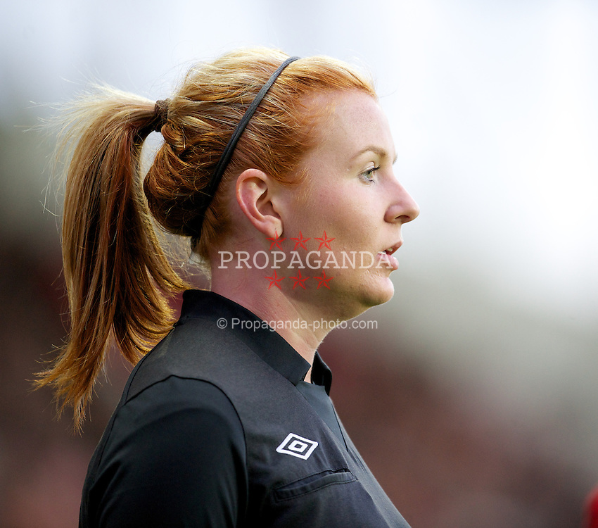 ST HELENS, ENGLAND - Sunday, November 18, 2012: Assistant referee Helen Byrne runs the line during the Under 21 FA Premier League match between Liverpool and Chelsea at Langtree Park. (Pic by David Rawcliffe/Propaganda)