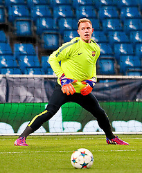 Marc-André ter Stegen of FC Barcelona trains ahead of the UEFA Champions League tie against Manchester City - Photo mandatory by-line: Matt McNulty/JMP - Mobile: 07966 386802 - 23/02/2015 - SPORT - Football - Manchester - Etihad Stadium