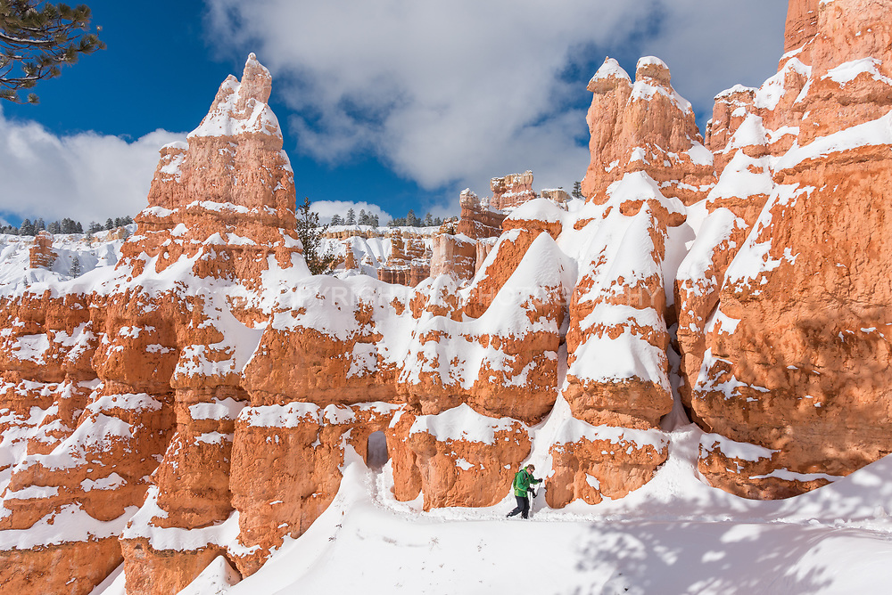 Hiking in Bryce Canyon National Park in winter.
