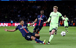 Thiago Silva of Paris Saint-Germain tackles Kevin De Bruyne of Manchester City - Mandatory by-line: Robbie Stephenson/JMP - 06/04/2016 - FOOTBALL - Parc des Princes - Paris,  - Paris Saint-Germain v Manchester City - UEFA Champions League Quarter Finals First Leg