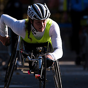 NYTRUN - NOV. 6, 2016 - NEW YORK - Tatyana McFadden (350), who would go on to finish first in the Pro Wheelchair Women division of the 2016 TCS New York City Marathon, crosses into Central Park at 90th Street in Manhattan on Sunday morning. NYTCREDIT:  Karsten Moran for The New York Times **PLS CHECK FINISH PLACE AND TIMES