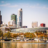 Picture of Chicago skyline with Soldier Field. Photo includes Willis Tower (formerly Sears Tower) and boats in Burnham Harbor. Picture is high resolution and was taken 2011.