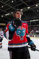KELOWNA, CANADA - OCTOBER 13: Nolan Foote #29 of the Kelowna Rockets fist pumps as he skates to the bench to celebrate a first period goal against the Calgary Hitmen on October 13, 2017 at Prospera Place in Kelowna, British Columbia, Canada.  (Photo by Marissa Baecker/Shoot the Breeze)  *** Local Caption ***