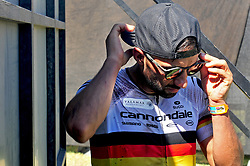 WELLINGTON SOUTH AFRICA - MARCH 22: Manuel Fumic at the finish of stage three's 111km from Wellington to Worcester on March 22, 2018 in Western Cape, South Africa. Mountain bikers gather from around the world to compete in the 2018 ABSA Cape Epic, racing 8 days and 658km across the Western Cape with an accumulated 13 530m of climbing ascent, often referred to as the 'untamed race' the Cape Epic is said to be the toughest mountain bike event in the world. (Photo by Dino Lloyd)