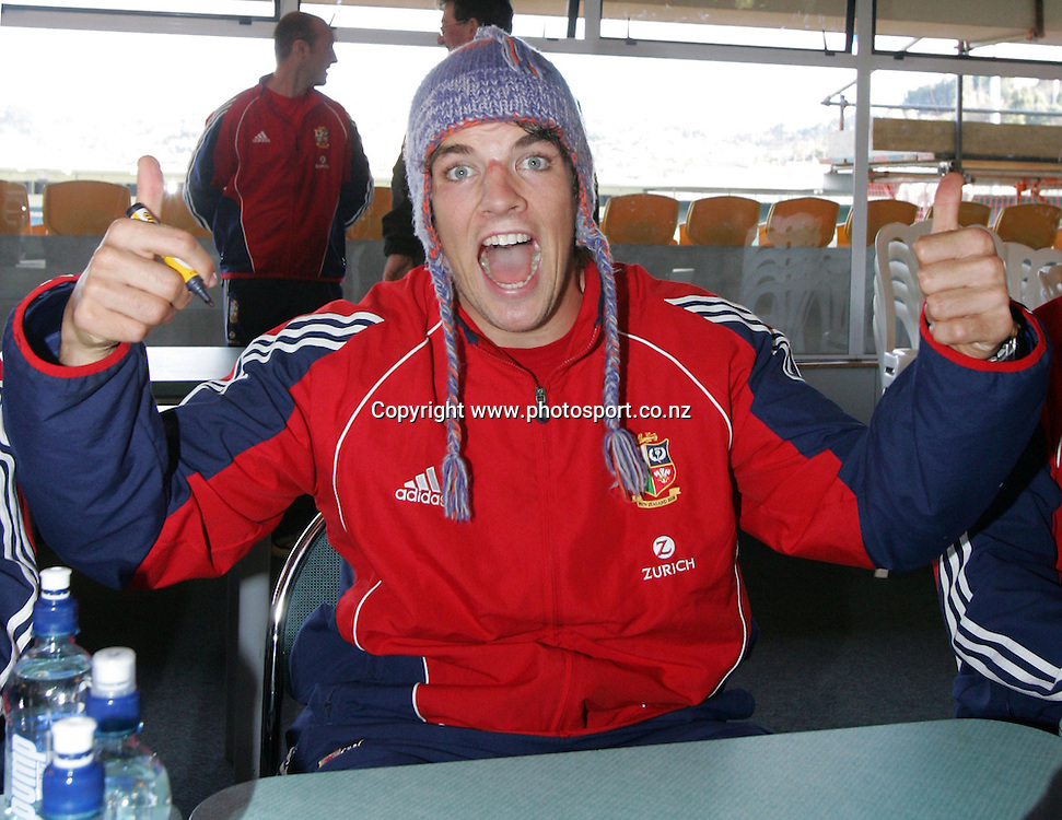Donncha O'Callaghan shows off his new hat given to him from a fan at Carisbrook, Dunedin, New Zealand on Sunday June 19, 2005. Photo: Hannah Johnston/PHOTOSPORT