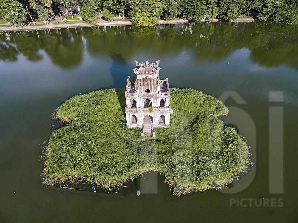 Aerial view of Turtle Tower in Hoan Kiem Lake, Hanoi, Vietnam, Southeast Asia