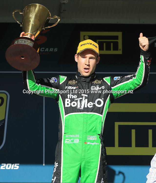 David Reynolds celebrates his win. ITM 500 V8 Supercars, Pukekohe, Auckland, New Zealand. Saturday, 07 November 2015. Copyright photo: John Cowpland / www.photosport.nz