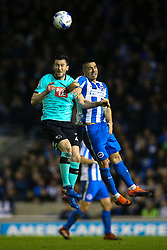David Nugent of Derby County and Beram Kayal of Brighton & Hove Albion jump to head the ball - Mandatory by-line: Jason Brown/JMP - 10/03/2017 - FOOTBALL - Amex Stadium - Brighton, England - Brighton and Hove Albion v Derby County - Sky Bet Championship