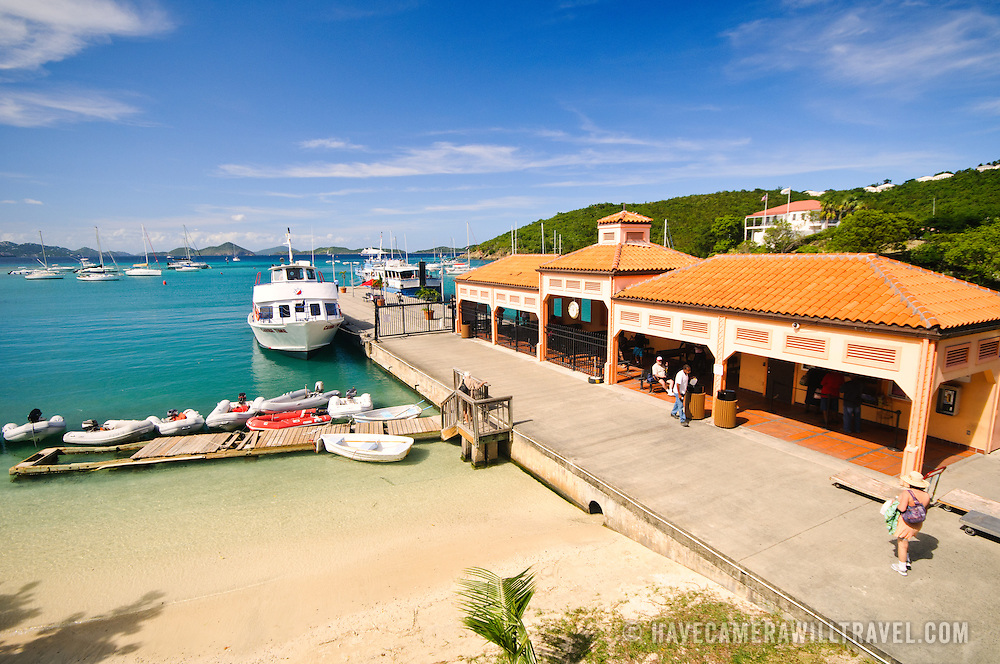 Boats on the dock at the Cruz Bay ferry terminal on St. John in the US Virgin Islands. This is the main access point to the island.