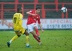 WREXHAM, WALES - Saturday, February 14, 2009: Wrexham's Neil Taylor in action against Grays Athletic during the Blue Square Premier League match at the Racecourse Ground. (Mandatory credit: David Rawcliffe/Propaganda)
