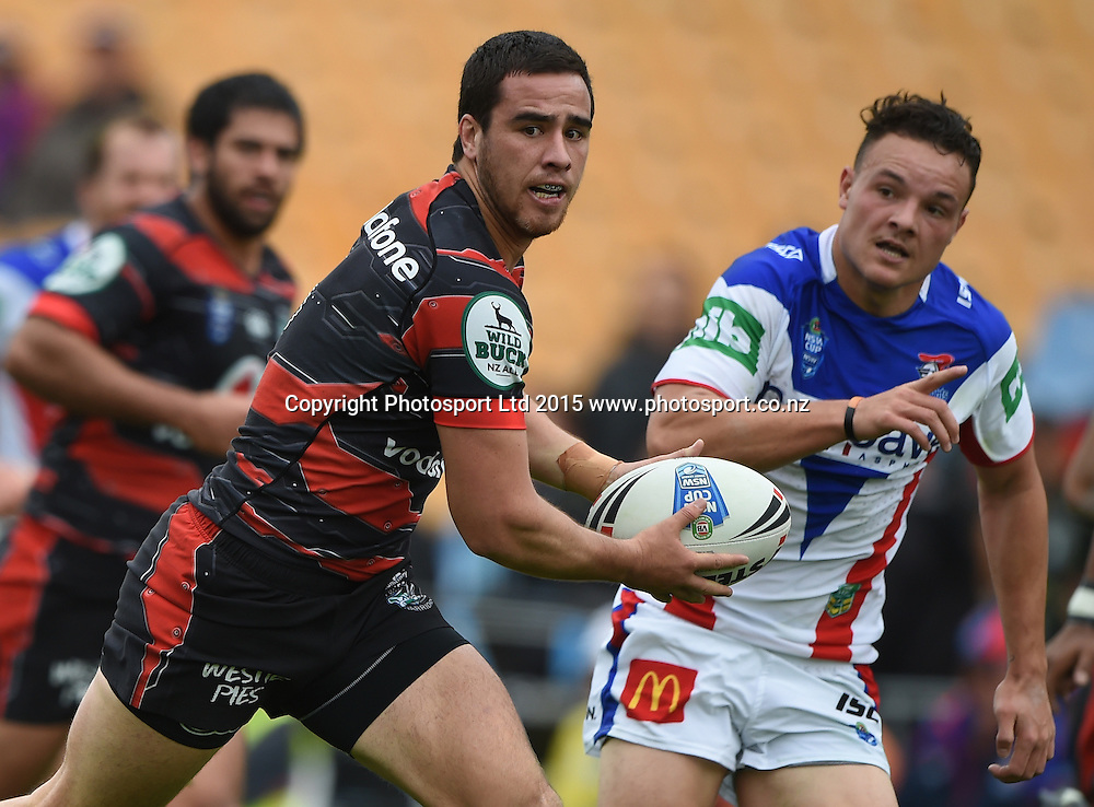 Api Pewhairangi during the Vodafone Warriors v  Newcastle Knights match. VB NSW Cup Rugby League. Mt Smart Stadium, Auckland. New Zealand. Sunday 31 May 2015. Copyright Photo: Andrew Cornaga/www.Photosport.co.nz