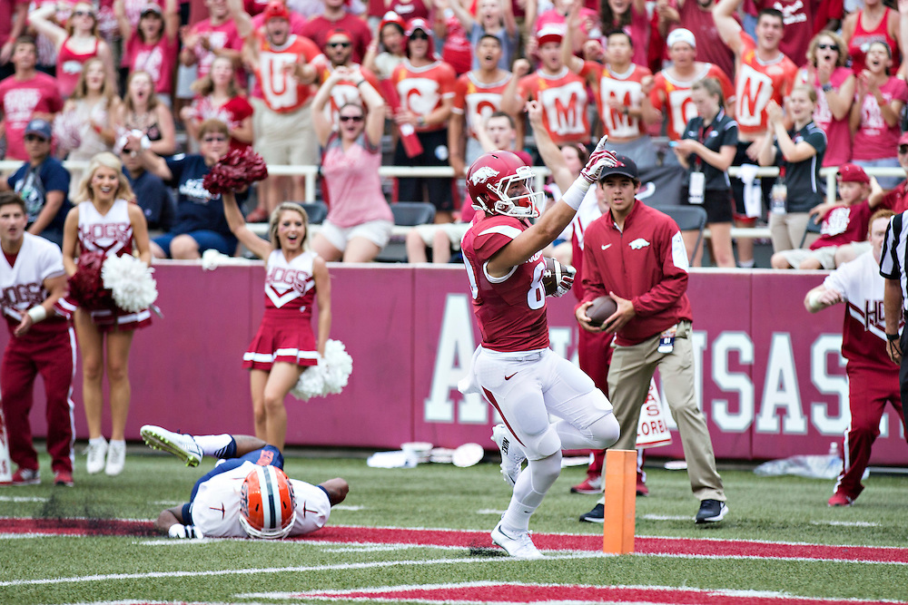 FAYETTEVILLE, AR - SEPTEMBER 5:  Drew Morgan #80 of the Arkansas Razorbacks points to the crowd after scoring a touchdown during a game against the UTEP Miners at Razorback Stadium on September 5, 2015 in Fayetteville, Arkansas.  The Razorbacks defeated the Miners 48-13.  (Photo by Wesley Hitt/Getty Images) *** Local Caption *** Drew Morgan