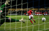 Photo: Paul Thomas.<br /> Chester City v Nottingham Forest. The Carling Cup. 14/08/2007.<br /> <br /> Keeper John Danby (L) of Chester is beaten by penalty taker Emile Sinclair (R) who wins the penalty shoot-out for Forest.