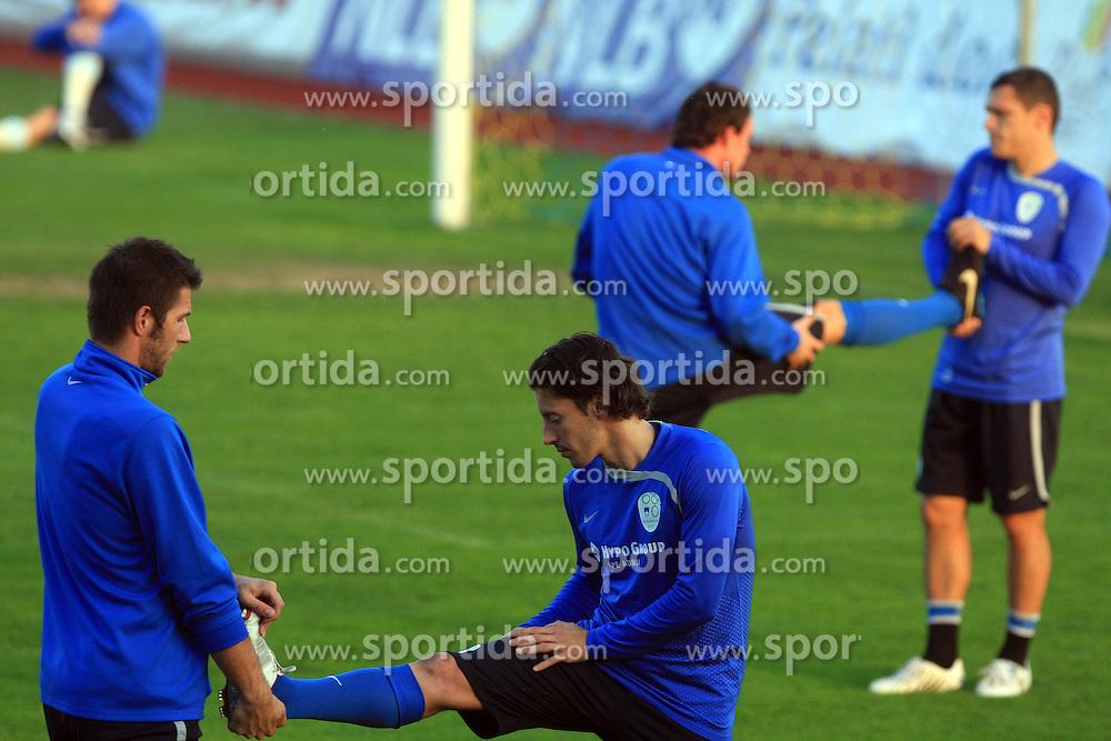 Bostjan Cesar (5) and Robert Koren (8) at practice of Slovenian men National team, on October 13, 2008, in Domzale, Slovenia.  (Photo by Vid Ponikvar / Sportal Images)
