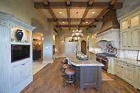 Wood beamed ceiling of Palm Springs kitchen