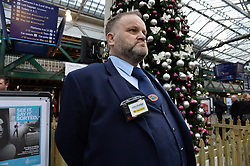 Pictured: station Staff Neil Gaiters with one of the new cameras.<br /> <br /> Scotrail unveils new &pound;300,000 GBP personal cctv cameras for their front-line staff to wear. This is in response to increased assaults on staff members across the network, and will see over 350 camera equipped staff across Scotland.<br /> <br /> (c) Dave Johnston / Eem