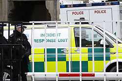 © Licensed to London News Pictures. 13/03/2018. London, UK. An Incident Resposnse ambulance is seen leaving Norman Shaw building in Westminster where there is a potential situation involving a suspicious substance. There are reports of a heavy police presence at The Norman Shaw buildings which are used as extra capacity for MPs and staff, with limited space at the Palace of Westminster. Photo credit: Peter Macdiarmid/LNP