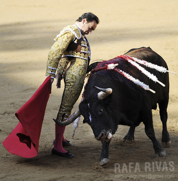 "Spanish matador Manuel Jesus ""El Cid"" performs a pass with muleta to his  Fuente Ymbro fighting bull, during the third corrida of the San Fermin festivities, on July 9, 2008, in Pamplona, north of Spain."