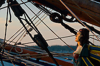 Alpenglow on the face of the brig Lady Washington figurehead