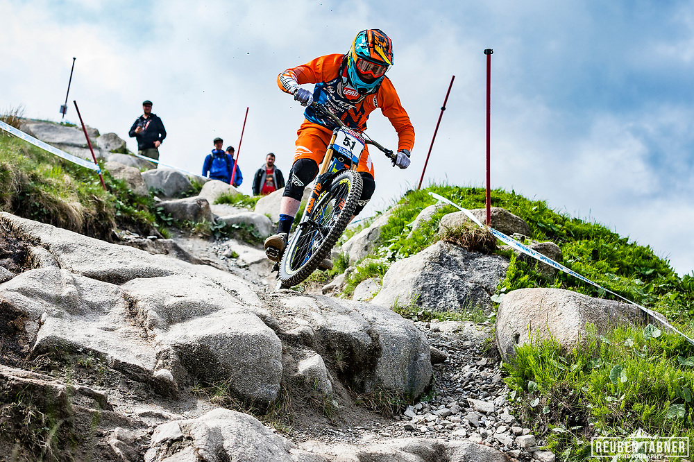 Bernard Kerr during Sunday practise at the UCI Mountain Bike World Cup in Fort William.
