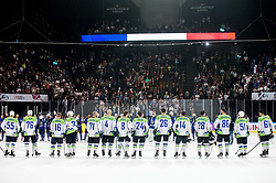 Players of Slovenia after the 2017 IIHF Men's World Championship group B Ice hockey match between National Teams of France and Slovenia, on May 15, 2017 in AccorHotels Arena in Paris, France. Photo by Vid Ponikvar / Sportida