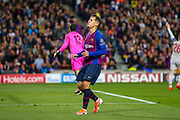 Barcelona midfielder Courtinho (7) with a near miss during the Champions League semi-final leg 1 of 2 match between Barcelona and Liverpool at Camp Nou, Barcelona, Spain on 1 May 2019.