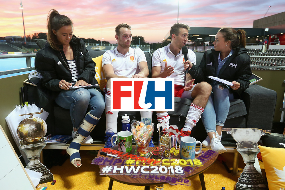 LONDON, ENGLAND - JUNE 15:  David Condon of England and Christopher Griffiths of England speak to members of the England Hockey media staff after the Hero Hockey World League Semi Final match between England and China at Lee Valley Hockey and Tennis Centre on June 15, 2017 in London, England.  (Photo by Alex Morton/Getty Images)