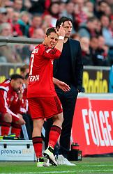 10.04.2016, Rhein Energie Stadion, Koeln, GER, 1. FBL, 1. FC Koeln vs Bayer 04 Leverkusen, 29. Runde, im Bild Chicharito (Leverkusen), Cheftrainer Roger Schmidt (Leverkusen) // during the German Bundesliga 29th round match between 1. FC Cologne and Bayer 04 Leverkusen at the Rhein Energie Stadion in Koeln, Germany on 2016/04/10. EXPA Pictures © 2016, PhotoCredit: EXPA/ Eibner-Pressefoto/ Hommes<br /> <br /> *****ATTENTION - OUT of GER*****