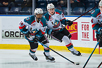 KELOWNA, CANADA - JANUARY 30: Trevor Wong #14 of the Kelowna Rockets warms up on the ice with the puck against the Seattle Thunderbirds on January 30, 2019 at Prospera Place in Kelowna, British Columbia, Canada.  (Photo by Marissa Baecker/Shoot the Breeze)