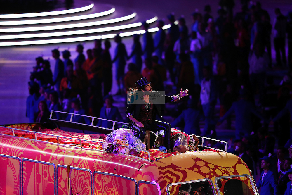 Russell Brand performs during Closing Ceremonies during day 16 of the London Olympic Games in London, England, United Kingdom on August 12, 2012..(Jed Jacobsohn/for The New York Times)..