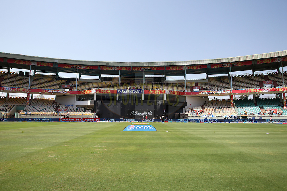 General view during match 13 of the Pepsi IPL 2015 (Indian Premier League) between The Sunrisers Hyderabad and The Delhi Daredevils held at the ACA-VDCA Stadium in Visakhapatnam India on the 18th April 2015.<br /> <br /> Photo by:  Shaun Roy / SPORTZPICS / IPL